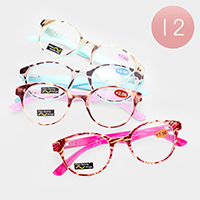 12PCS - Rounded Textured Frame Reading Glasses
