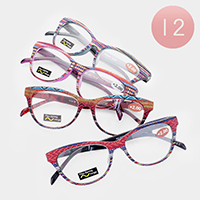 12PCS - Texture Print Reading Glasses