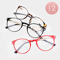 12PCS - Plain Color Round Reading Glasses