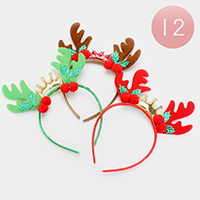 12PCS - X-Mas Rudolph Crown Headbands