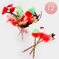 12PCS - X-Mas Feather Rudolph Santa Pens