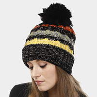Multi Colored Striped Pom Pom Beanie