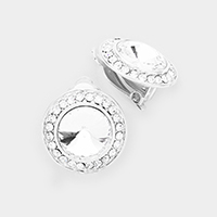 Crystal Pave Trimmed Round Clip on Earrings