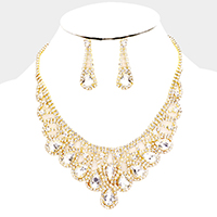 Crystal Teardrop Draped Evening Necklace
