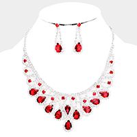 Crystal Teardrop Rhinestone Pave Evening Necklace
