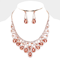 Crystal Teardrop Draped Bib Necklace