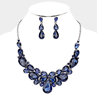 Teardrop Cluster Collar Evening Necklace