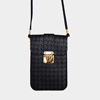 Textured Faux Leather Mini Crossbody Bag