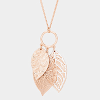 Metal Leaf Filigree Pendant Necklace