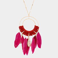 Feather Suede Wrapped Pendant Necklace