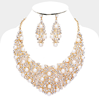 Pearl Clustered Crystal Bib Necklace Set