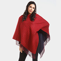 Checked Fringe Poncho