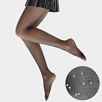 Pearl Embellished Fishnet Pantyhose Tights
