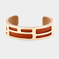 Genuine Leather Geometric Metal Cuff Bracelet