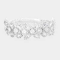 Crystal Oval Rhinestone Pave Adjustable Bracelet