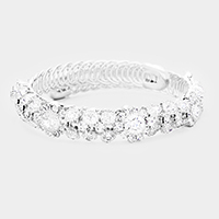 Crystal Oval Detailed Floral Adjustable Bracelet