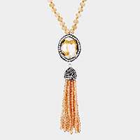 Crystal Trimmed Faceted Oval Tassel Pendant Long Necklace