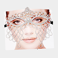 Teardrop Rhinestone Pave Cat Eyes Marquise Mask