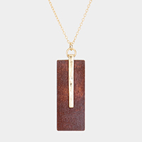 Hammered Bar Rectangle Wood Pendant Necklace