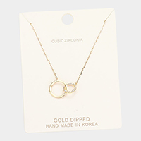 Gold Dipped Cubic Zirconia Interlocked Pendant Necklace