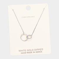 White Gold Dipped Cubic Zirconia Interlocked Pendant Necklace