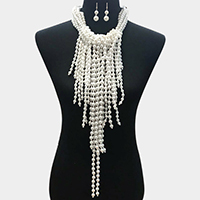 Multi Pearl Strand Statement Necklace