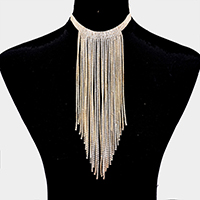Cubic Zirconia Long Tassel Bib Necklace