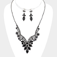 Oval Crystal Rhinestone Pave V Collar Necklace