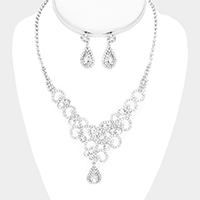 Bubble Cluster Crystal Rhinestone Pave Teardrop Necklace