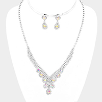 Rhinestone Pave Teardrop Crystal Round V Necklace
