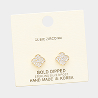 Gold Dipped Cubic Zirconia Clover Quatrefoil Earrings