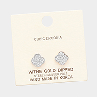 White Gold Dipped Cubic Zirconia Clover Quatrefoil Earrings