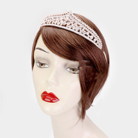 Crystal Rhinestone Pave Bubble Queen Tiara