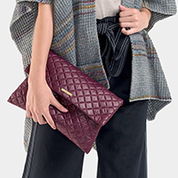 Rectangular Quilted Magnetic Clutch Bag