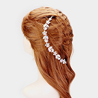 Pearl Crystal Rhinestone Pave Flower Hair Comb