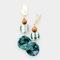 Ceramic Wood Celluloid Acetate Drop Dangle Earrings