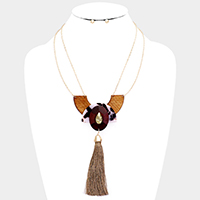 Abstract Wood Celluloid Acetate Tassel Drop Necklace