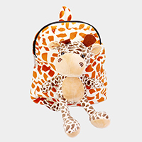 Fluffy Stuffed Giraffe Patterned Backpack