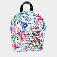 Flower Pattern Print Faux Leather Backpack