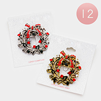 12PCS - Crystal Embellished Jingle Bell Wreath Pin Brooch
