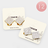 12Pairs - Crystal Pave Diamond Clip on Stud Earrings