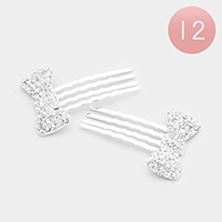 12 PCS - Pave Crystal Rhinestone Bow Hair Comb
