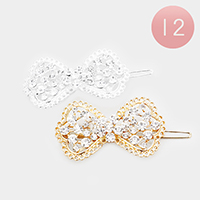 12 PCS - Pave Crystal Rhinestone Bow Hair Barrettes