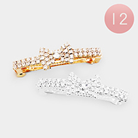 12PCS - Pave Crystal Bow Hair Barrettes