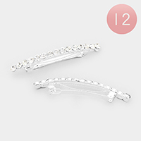 12PCS - Pave Crystal Pearl Hair Barrettes