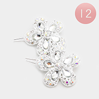 12PCS - Crystal Teardrop Flower Hair Barrettes