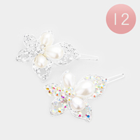 12PCS - Crystal Pearl Flower Hair Barrettes