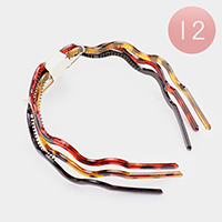 12 Set of 3 - Celluloid Acetate Wavy Headbands