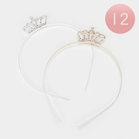 12PCS - Crystal Pave Crown Headbands