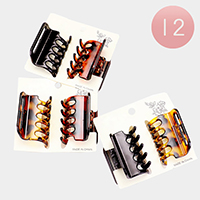 12 Set of 2 - Celluloid Acetate Open Sided Claw Clips